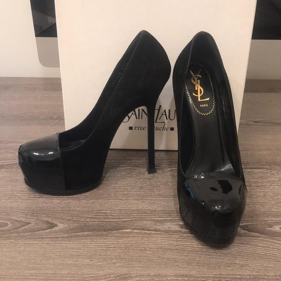 c9d1efe425c Yves Saint Laurent Shoes | Ysl 105 Cap Pump Black Suedepatent 375 ...